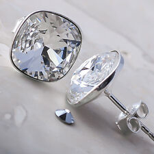 925 Sterling Silver Stud Earrings Square Clear 10 mm Crystals from Swarovski®