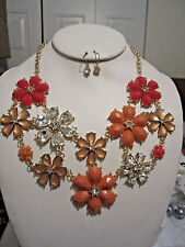 Coral Brown And Clear Lucite Flower Floral Necklace Earring Set