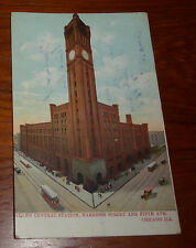 Vintage 1908 Grand Central Station Harrison St & Fifth Ave, Chicago Postcard