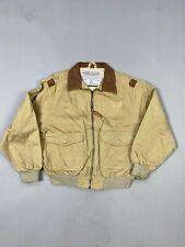 Avirex kid's khaki bomber jacket with leather collar, age 5-6