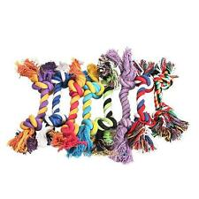Funny Puppy Pet Dog Chew Cotton Braided Rope 2 Knot Tug Toy Puppy Chew Pet