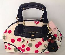 NWT Juicy Couture Genuine Cream Velour & Navy Blue Leather Hand Bag With Key Fob