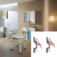 Bathroom Adjustable Shower Stool Chair & Safety Suction Grab Grip Handle Armrest