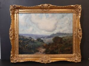 Original Antique Landscape Oil Painting on canvas Signed, Dated