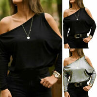 Women's Cold Shoulder Loose T Shirt Ladies Casual Plain Long Sleeve Blouse Tops