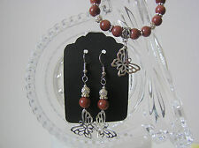 Hand Crafted Silver Tone Genuine Goldstone Bead Bracelet and Earrings Set