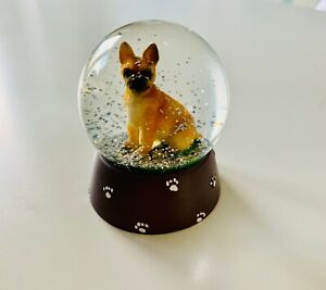 French Bull Dog Snow Globe With Grey Paw Print Resin Base And Silver Glitter
