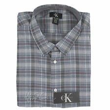 fad565c4790 Calvin Klein Long Sleeve Dawn Gray burgundy Plaid Shirt Sz XL Button up