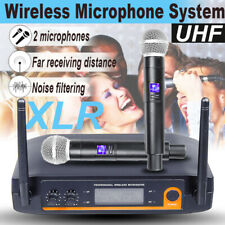 Home Led 2 Channel Pro Audio Uhf Wireless Microphone System Dual Handheld Mic