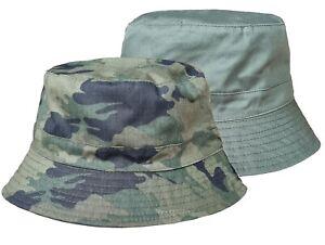 Mens Camouflage Bucket Hat 100% Cotton Reversible Bush Hat Sun Cap Boonie Hat