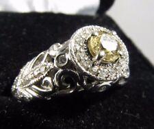 Vintage 14k White Gold Champaign 1ct. Diamond Halo Ring  Size 7.25   #R283
