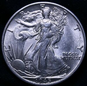 USA: 1945 S Walking Liberty Half Dollar UNC  R7-54-481