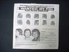 Vintage FBI Wanted Poster 1974 Paul David Kneeland