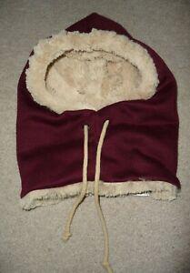 Yogibo Maroon Super SOFT fur plush lined drawstring hood winter hat NEW w/o Tags