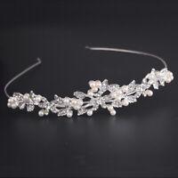 Bridal Crystal Tiara Wedding Party Flower Pearl Crown Women Headband Hair Clip E