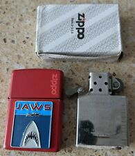 More details for original zippo red brass lighter - customised for jaws movie with box - used
