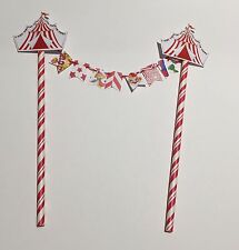 MINI BUNTING BIRTHDAY CAKE TOPPER RED WHITE STRIPE CIRCUS CARNIVAL TENT CLOWNS