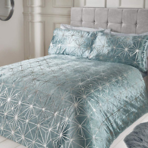 Sleepdown Geometric Duvet Cover With Pillow Cases Luxury Silver Shimmer Sparkle