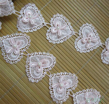 10Pcs Lace Bow Heart Pearl Applique Patch Sewing Craft Trim Dress Ribbon Motif