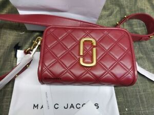 MARC JACOBS The Quilted Softshot 21 Small Crossbody Camera Bag Berry Red sales