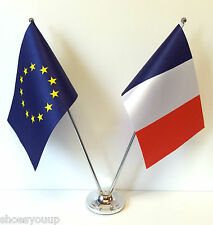 European Union EU & France Flags Chrome and Satin Table Desk Flag Set