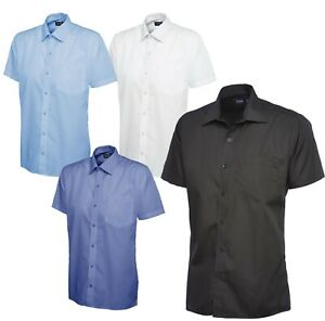 Uneek Mens Tailored Fit Short Sleeve Casual Work Formal wear Poplin Shirt 14-19