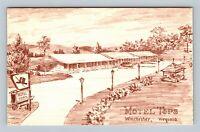 Winchester VA, Motel Tops, Virginia Linen Postcard