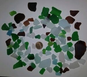 Lot Of 105 pieces of BEACH SEA GLASS , Green, Blue, Brown, White - Surf Tumbled