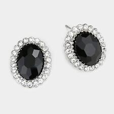 "3/4"" Long Silver Tone Black and Clear Oval Rhinestone Stud Post Earrings"
