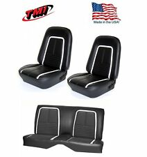 1967 Camaro Coupe Deluxe Front & Rear Seat Upholstery in Black w/White Stripe
