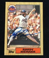 RANDY NIEMANN 1987 TOPPS AUTOGRAPHED SIGNED AUTO BASEBALL CARD 147 METS