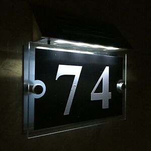 Modern SOLAR LIGHT House Signs Plaques Door Numbers 1 - 999 LED Acrylic DIY !