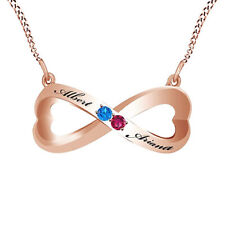 Pink Ruby & Blue Topaz Couple's Infinity Pendant Necklace 14K Rose Gold Over