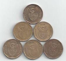 6 DIFFERENT 20 CENT COINS from SOUTH AFRICA (2004/2005/2006/2007/2008/2009)