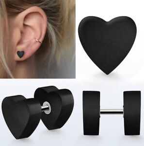 1 Pair Organic Carved Areng Wood Illusion Fake Ear Plug Heart Shaped Earrings US