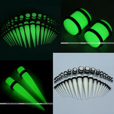 36pc Gauges Glow In The Dark Acrylic Tapers Plugs O-Ring Ear Stretching Kits Set