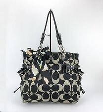 COACH 16435 Colette Signature Sateen Large XL Black Gray Tote Shoulder Bag Purse