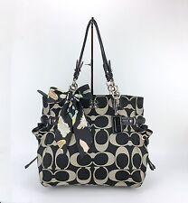 COACH 16435 Colette Signature Sateen Large XL Black Gray Tote Shoulder Bag Purse
