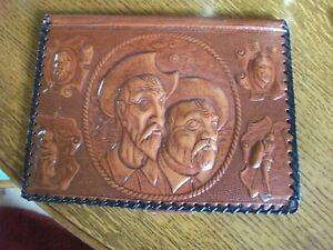 VINTAGE Tooled Leather Writing Folder case WILD WEST THEME