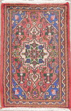 Remarkable Geometric PINK & BLUE Hamadan Oriental Hand-Knotted 2x3 Rug