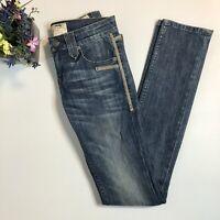 Taverniti Studded Distressed Blue Jeans Women's Size 24 Straight-Leg