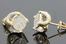Mens And Womens D/VVS1 Round Diamond Stud Earrings 14K Yellow Gold Finish