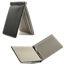 [Gray] Mens Spring Money Clip Slim Wallets ID Credit Card Holder Faux Leather