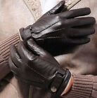 Black / Brown Men's Winter Driving Gloves Genuine Lambskin Leather Wool Lining