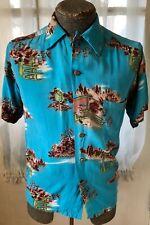 Vintage 1940's Hawaiian Blue Rayon Shirt W/ Novelty Print