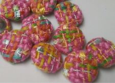 Bouclé Fabric Sewing Buttons Bright Pink, Blue, Green & Yellow