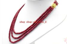 "Natural 2x4mm Red Ruby Faceted Rondelle 3Rows Gemstone Beads Necklace 17""-19""AA"