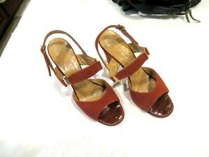 Joseph Magnin Mister J cognac sandals shoes heels, sz. 6.5M, c. 1963