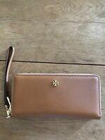 Tory Burch Emerson Brown Saffiano Leather Zip Around Wristlet Passport Wallet