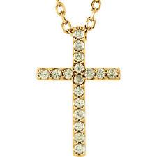 Peridoto CRUZ 40.6cm Collar en 14k ORO AMARILLO